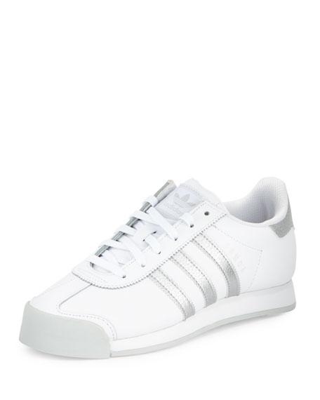 adidas samoa originariamente in pelle bianca / argento, scarpe da ginnastica, neiman marcus