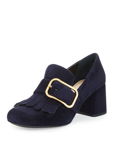 Suede Buckle Kiltie Loafer, Blue (Bleu)