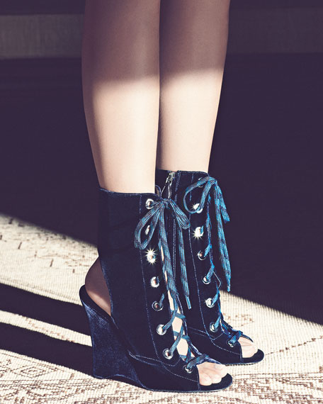 Velvet Lace-Up Wedge Bootie, Navy