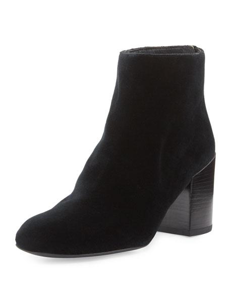 Stuart Weitzman Bacari Velvet Chunky-Heel Bootie, Black