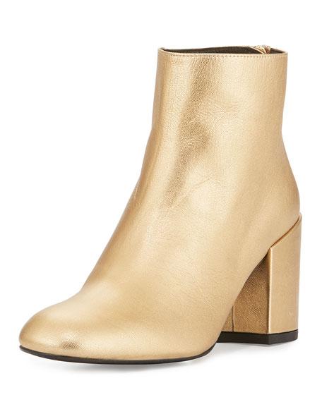 Stuart Weitzman Bacari Leather Chunky-Heel Bootie, Chino