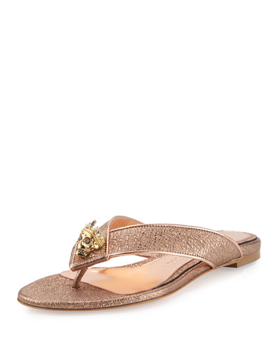 Metallic Skull Thong Sandal, Rose Gold