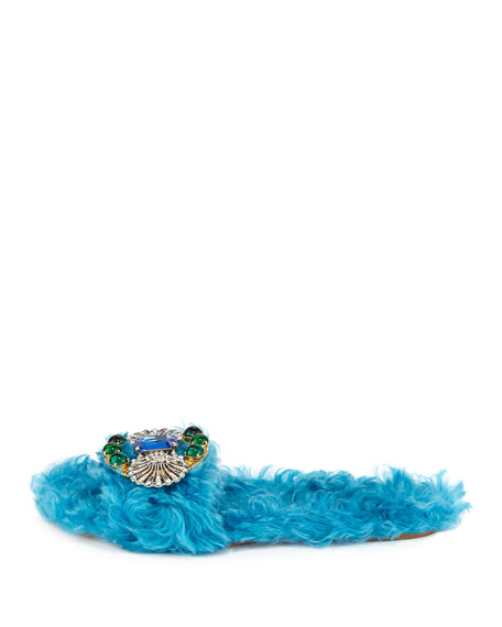 Crystal Faux-Shearling Slide Sandal, Turchese
