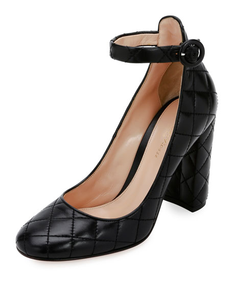 Image 1 of 5: Greta Quilted Ankle-Wrap 100mm Pump, Black