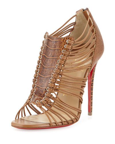 Amal Ostrich Caged Red Sole Bootie, Cognac