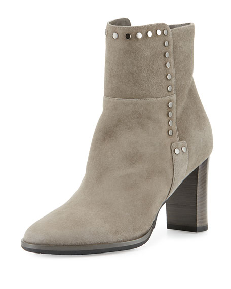 Jimmy Choo Harlow Studded Suede Bootie, Taupe Gray