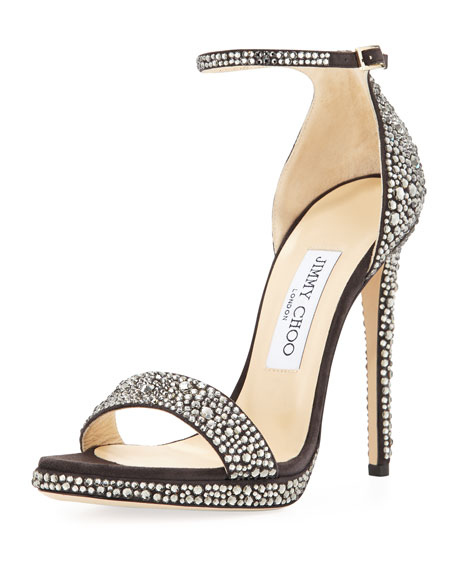 Kaylee Crystal 120mm Pump, Taupe/Gray