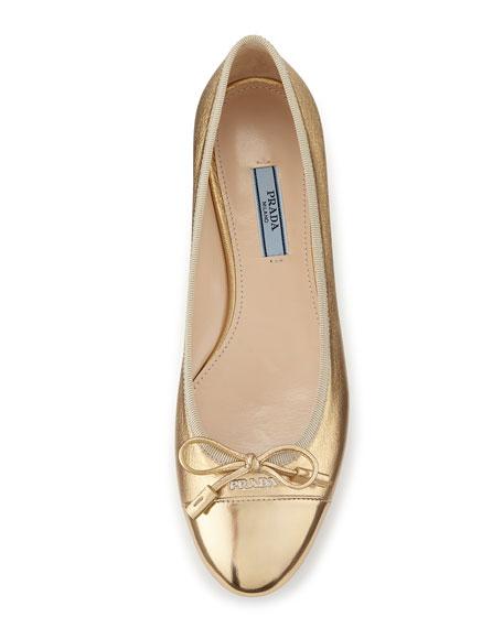 Prada Cap-Toe Leather Ballet Flat