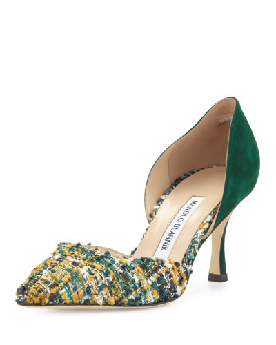 Taylerbi Tweed d'Orsay 70mm Pump, Green/Gold