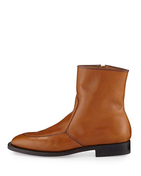 Brando Flat Leather Ankle Boot, Caramel