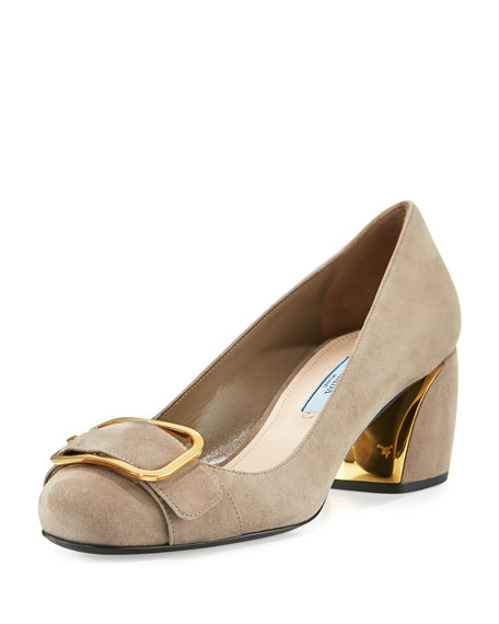 Prada Suede Buckle-Toe 55mm Pump, Agrilla