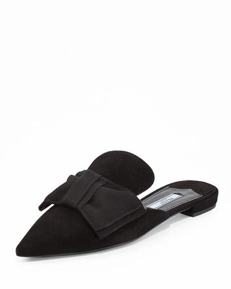 Suede Bow Mule Flat, Black (Nero)