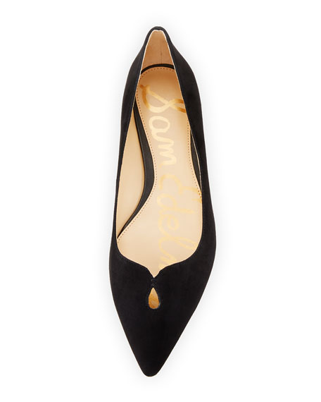 Ruby Pointed-Toe Skimmer Flat, Black