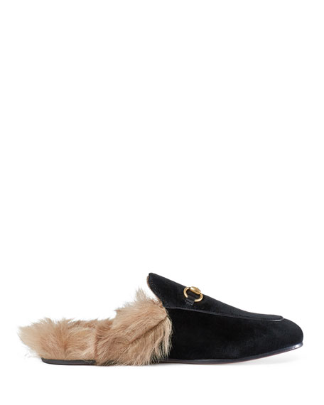Gucci Princetown Velvet Fur-Lined Mule, Nero
