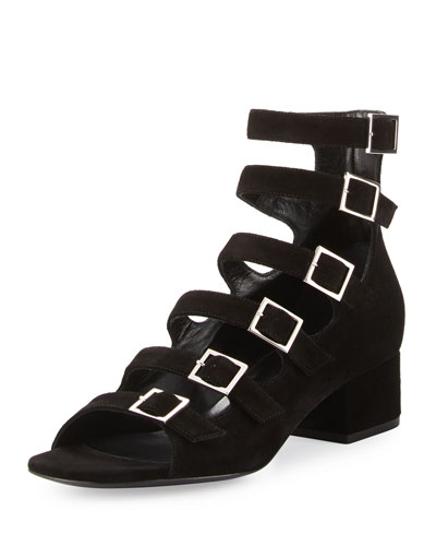 Suede Strappy 40mm Sandal, Black