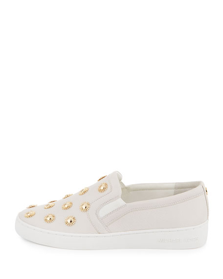 michael michael kors leo embellished leather slip on sneaker optic white. Black Bedroom Furniture Sets. Home Design Ideas