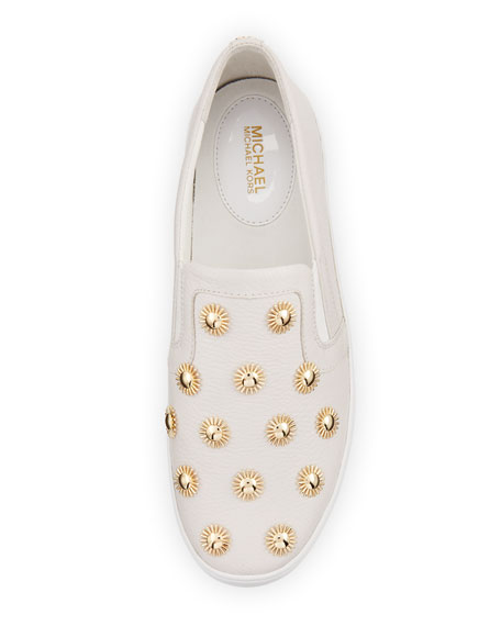 Leo Embellished Leather Slip-On Sneaker, Optic White