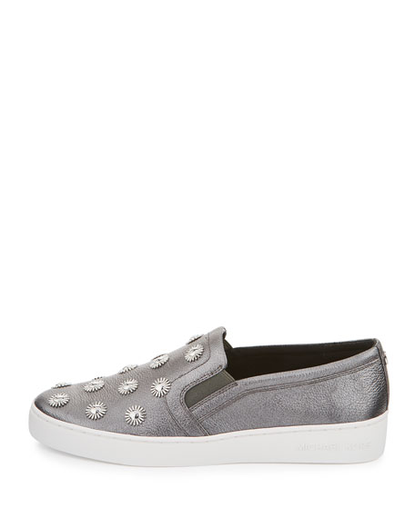 michael michael kors leo embellished leather slip on sneaker gunmetal. Black Bedroom Furniture Sets. Home Design Ideas