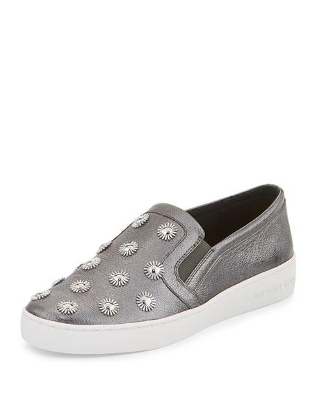 Leo Embellished Leather Slip-On Sneaker, Gunmetal
