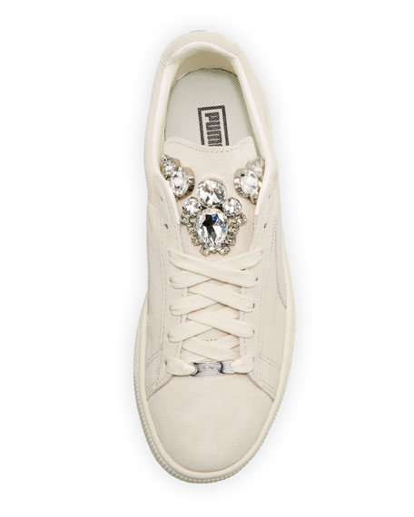 Clyde Basket Jeweled Sneaker, Whisper White