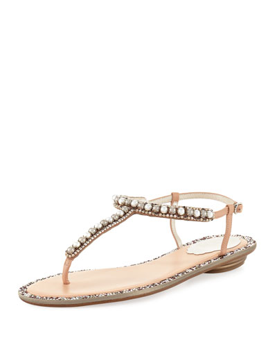 bb0f2638188a08 Rene Caovilla Pearly Flat Thong Sandal