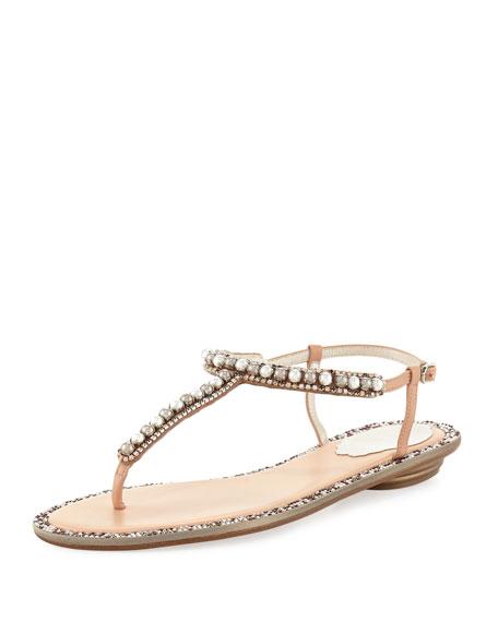 Rene Caovilla Pearly Flat Thong Sandal, Nude