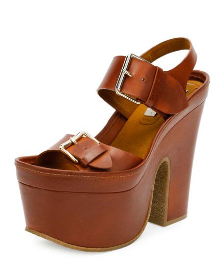 Stella McCartney Buckle Faux-Leather Platform Sandal, Praline