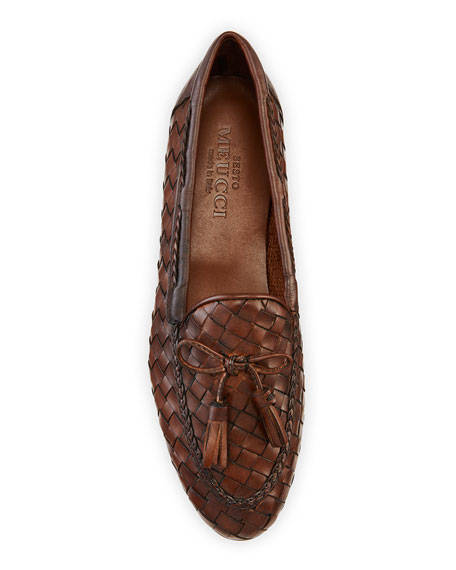 Nicole Woven Leather Loafer, Dark Tan