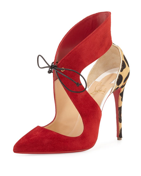 Ferme Rouge Self-Tie Red Sole Pump, Rougissime