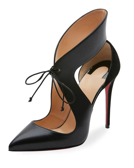 Christian Louboutin Ferme Rouge Self-Tie Red Sole Pump,