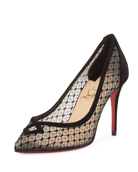 Christian Louboutin Neoalto Lace 100mm Red Sole Pump,