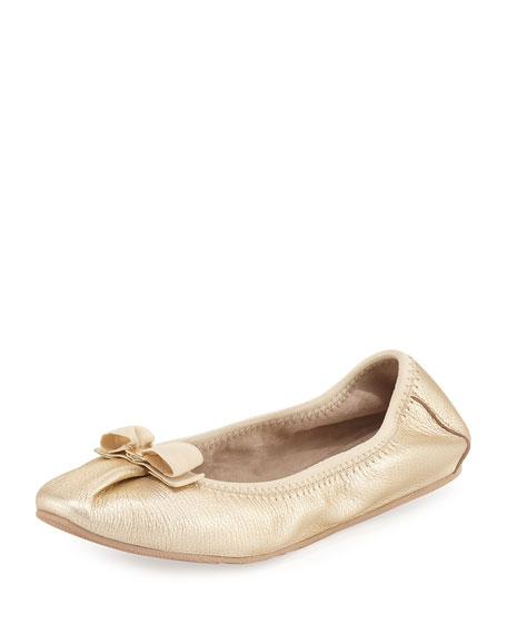 My Joy Leather Ballerina Flat, Platino