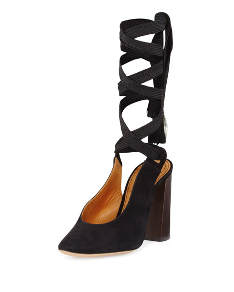 Chloe Suede Block-Heel Leg-Wrap Pump, Black