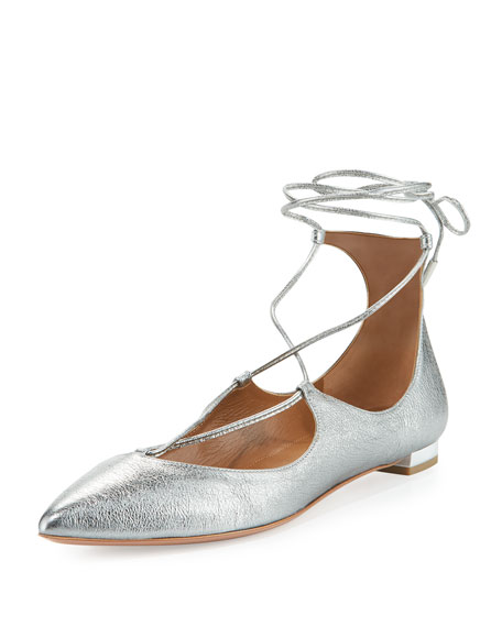 Aquazzura Christy Lace-Up Pointed-Toe Flat, Silver