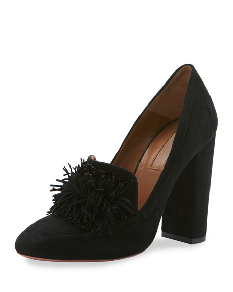 Aquazzura Wild Suede Fringe Loafer Pump, Black
