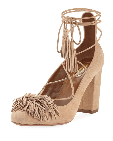 Aquazzura Wild Thing Fringe Block-Heel Pump, Biscotto