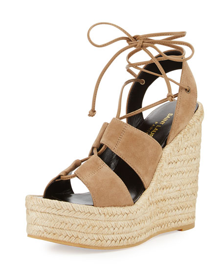 Suede 95mm Espadrille Wedge Sandal, Taupe