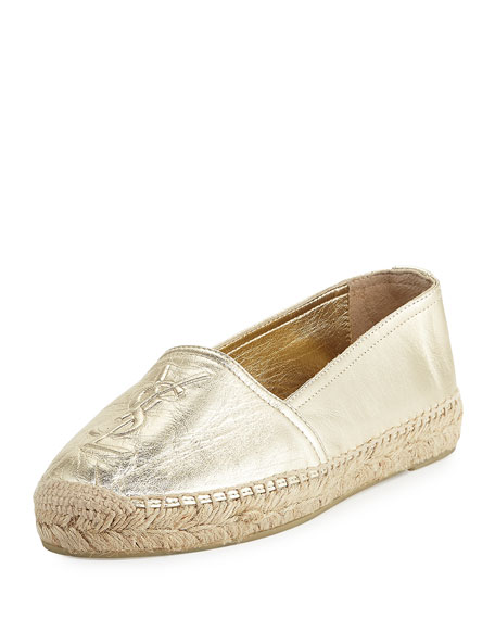 Saint Laurent Leather Logo Espadrille Flat, Platino
