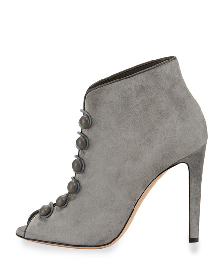 Imperia Suede Open-Toe 105mm Bootie, Gray