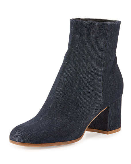 Gianvito Rossi 60mm Block-Heel Ankle Boot, Blue
