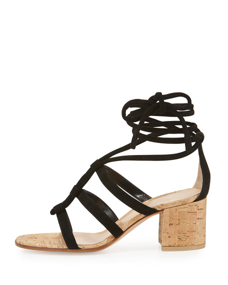 Cayman Lace-Up Suede 60mm Sandal, Black