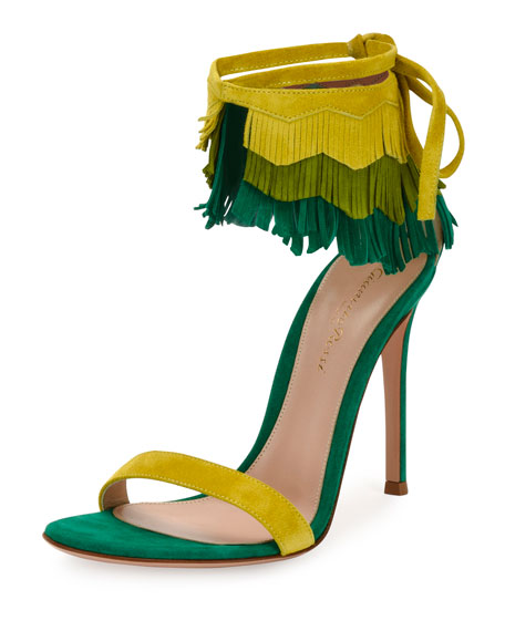Gianvito Rossi Fringe-Cuff Suede 105mm Sandal, Multi