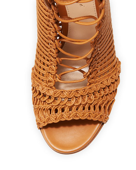 Marnie Woven Leather 105mm Bootie, Almond