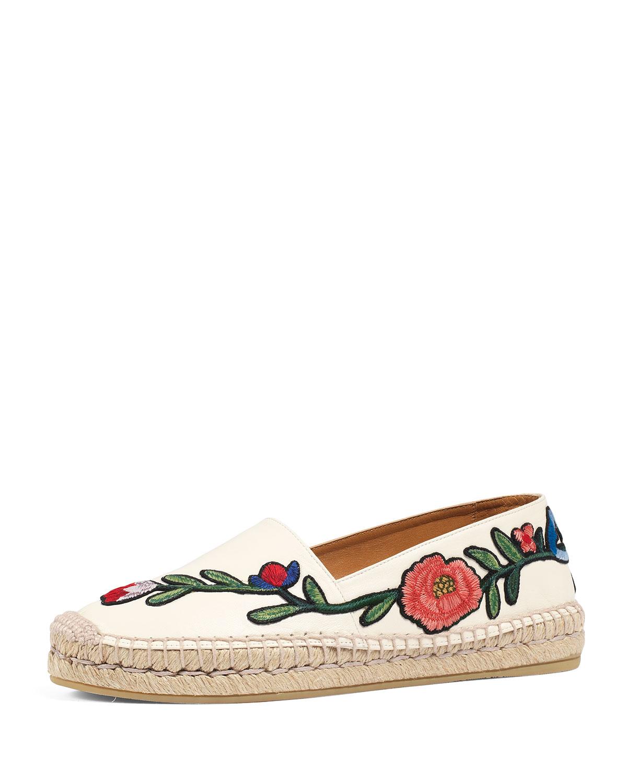 e11aefd54ec Gucci Pilar Embroidered Espadrille Flat