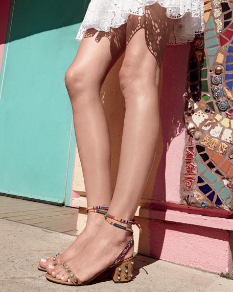 Rockstud Rolling Embroidered 60mm City Sandal
