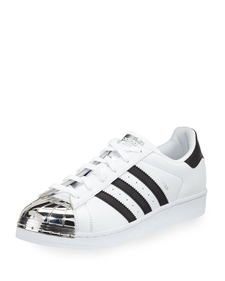 Adidas Superstar Metal-Toe Fashion Sneaker, White/Black/Silver
