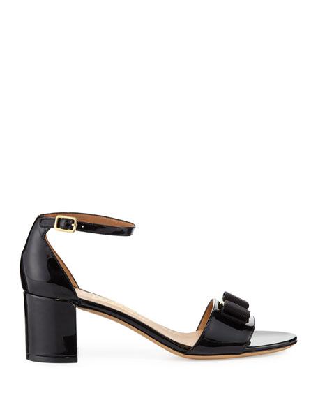 Gavina Bow Patent City Sandals, Nero