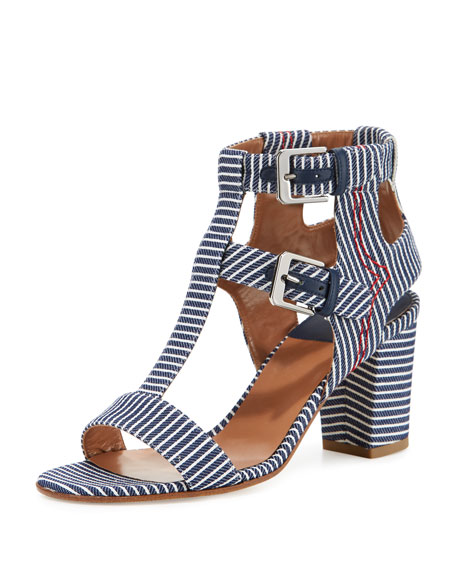 Laurence Dacade Helie Striped Canvas Sandal, Navy