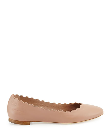 Image 2 of 3: Lauren Scalloped Leather Ballet Flats, Light Pink