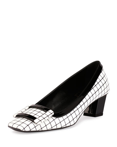 Belle Vivier Graphic Grid Pump, White/Black
